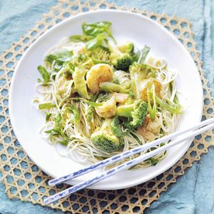 Gewokte broccoli met garnalen