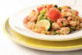 Snelle paella met kip en garnalen