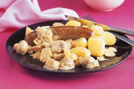 Stoofpot met braadworst, mosterd en appel