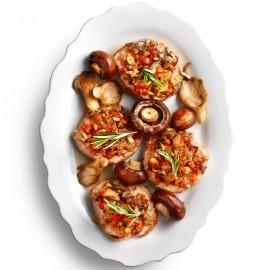 varkensoester met paddenstoelen
